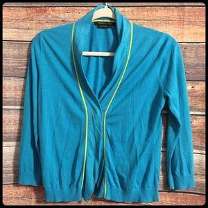 BCBGMaxAzria blue lime green orange cardigan